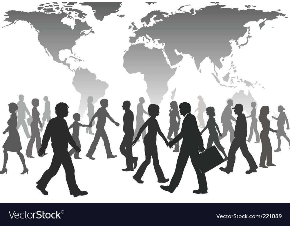 people walking silhouettes. Global People Walk World