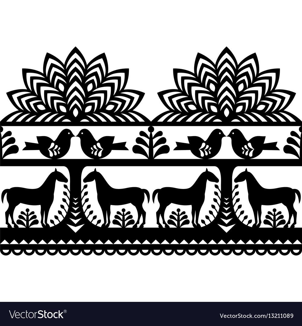 Seamless polish folk art pattern wycinanki