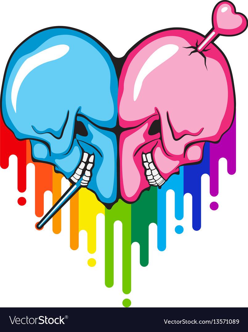Skull heart shape