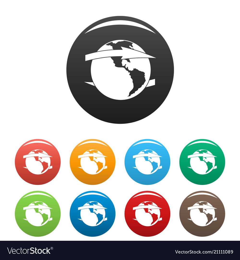 Wind on earth icons set color