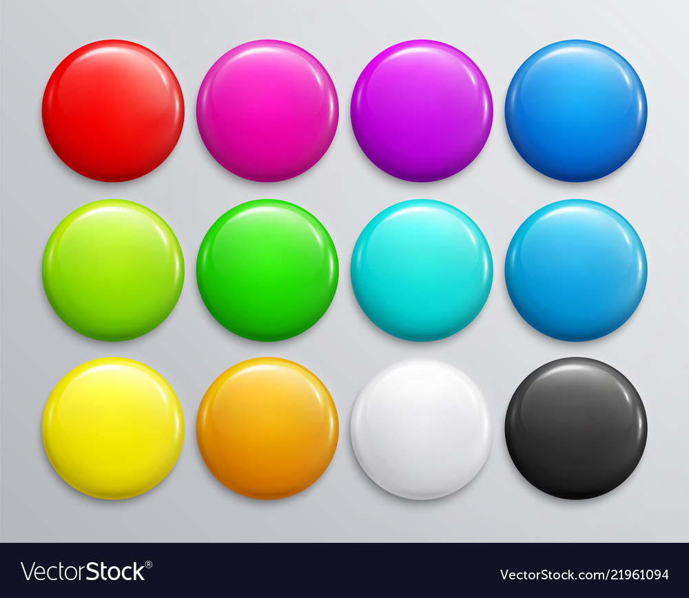 Big set of colorful glossy badge or button