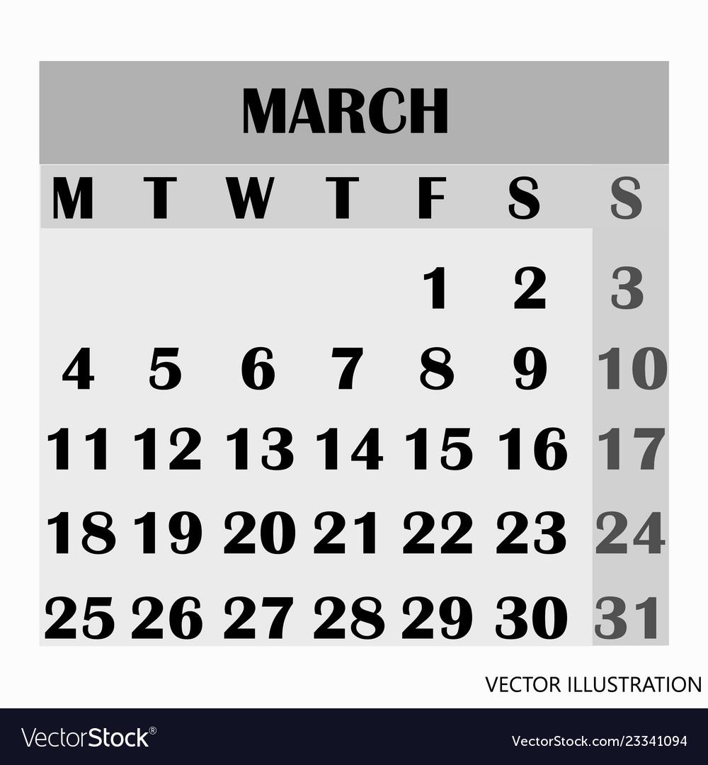 Calendar design month march 2019