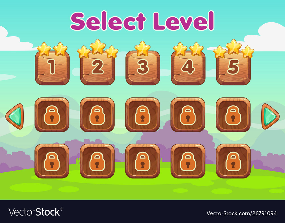 Cartoon level selection game screen wooden gui