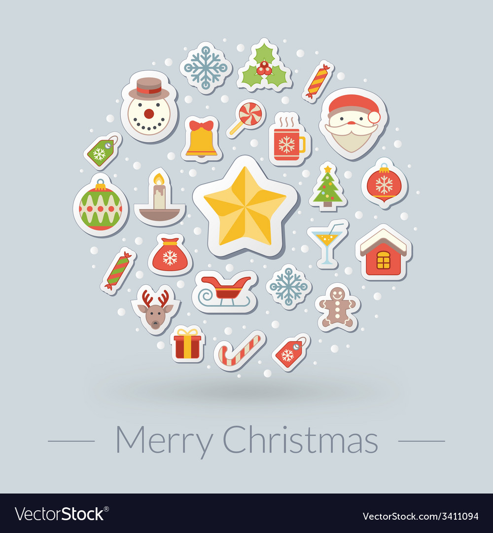 Christmas greeting card icons and symbols vector image m4hsunfo