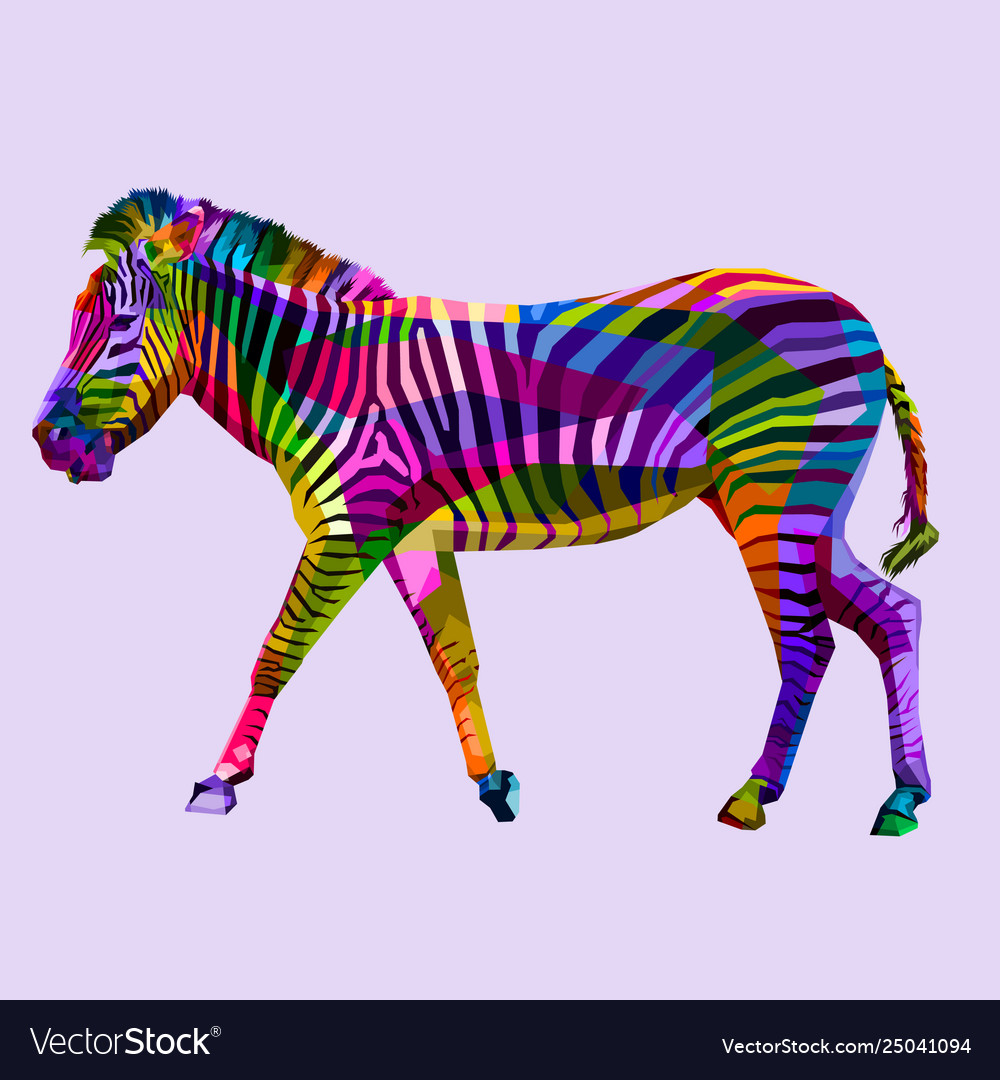 Colorful walking zebra on geometric abstract