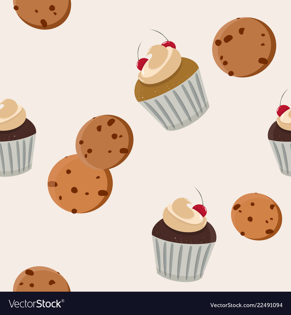 Cookies and cupcake seamless pattern
