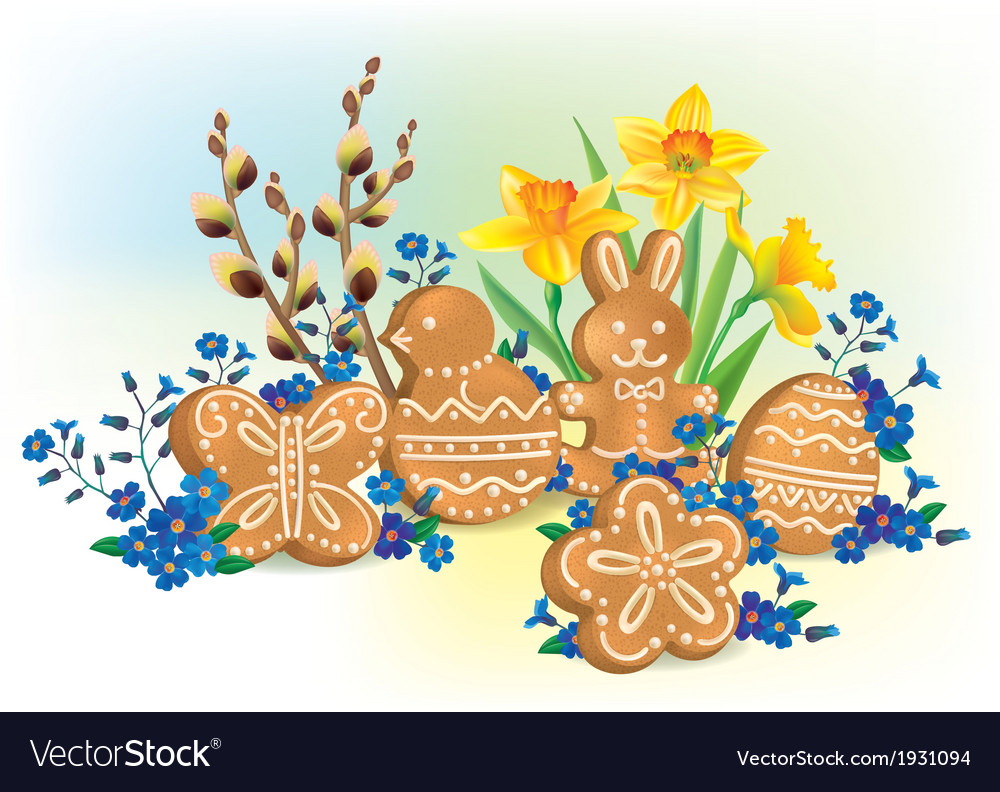 Easter composition of cookies and flowers