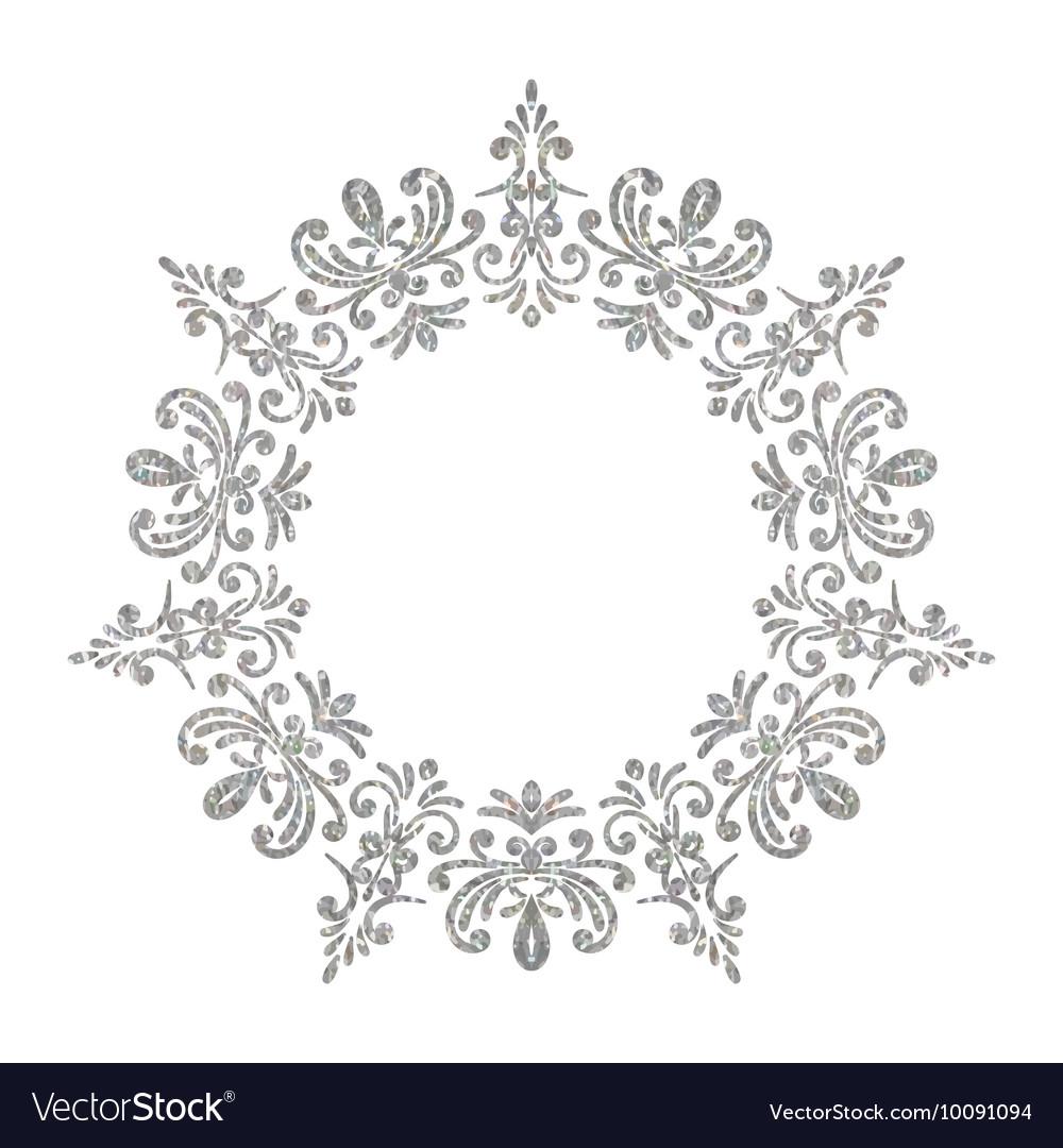 Elegant luxury vintage circle silver floral frame Vector Image