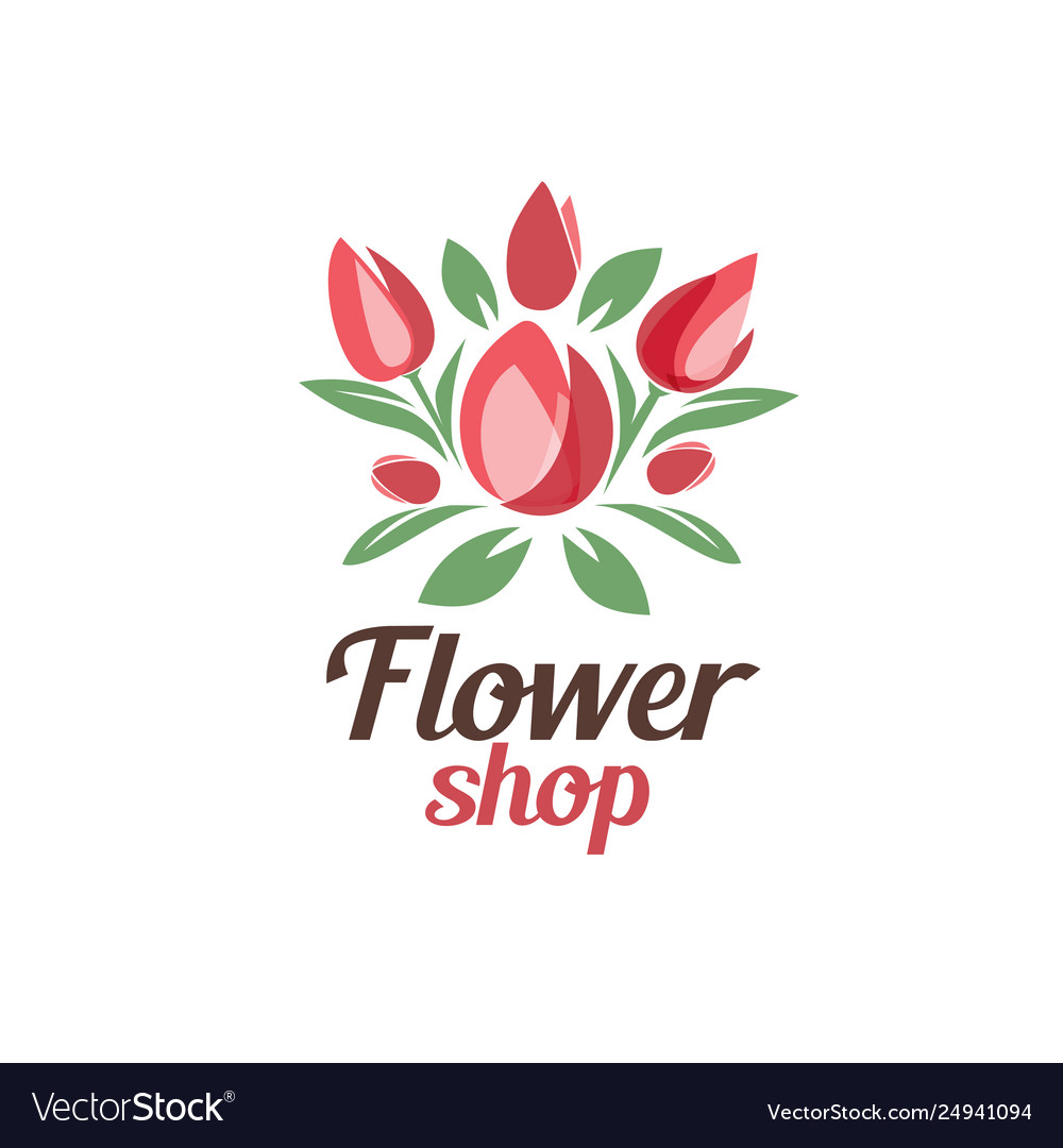 Flower shop logo template stylized symbol