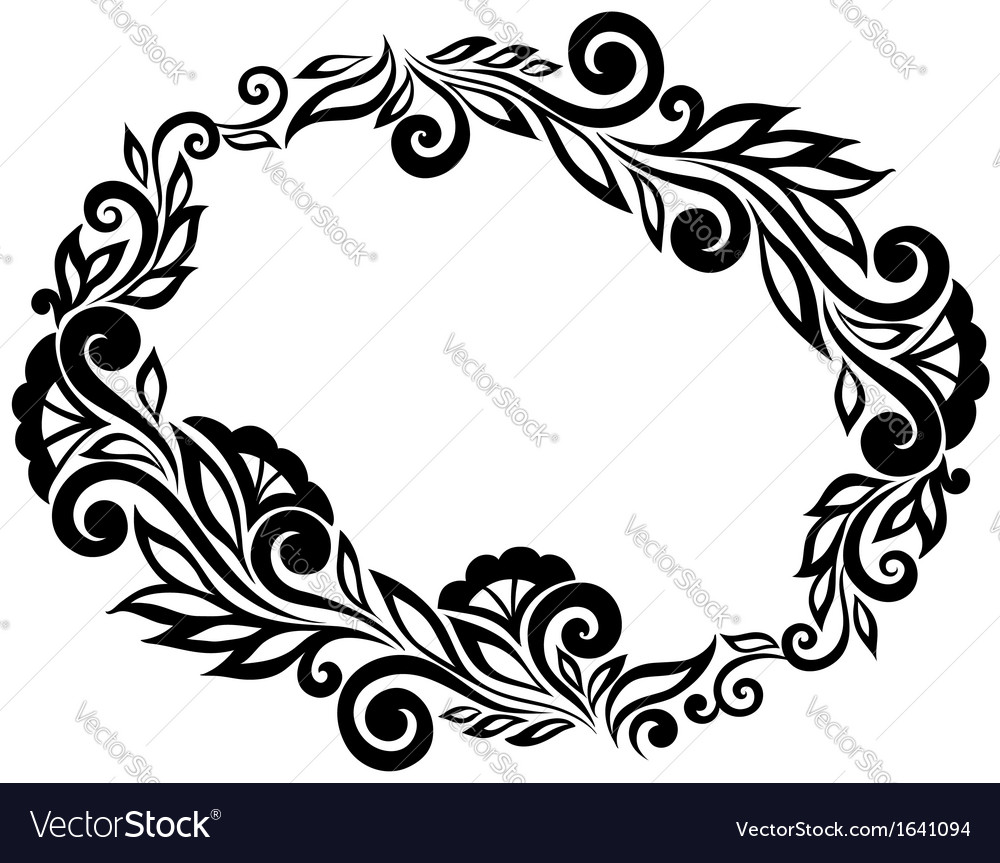 Frame black and white lace flowers and leaves vector image mightylinksfo