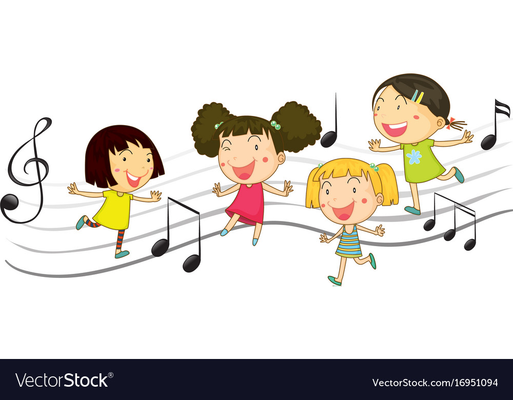 Happy children dancing with music notes in vector image