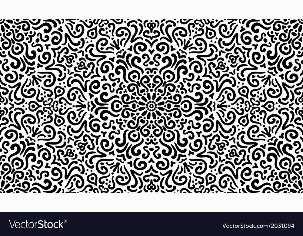 Intricate fantasy black seamless pattern