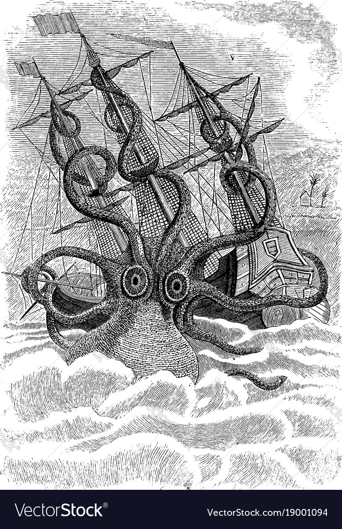 Kraken sea monster vintage
