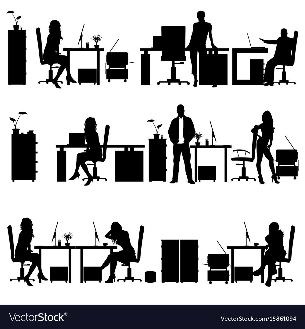 people in office silhouette royalty free vector image