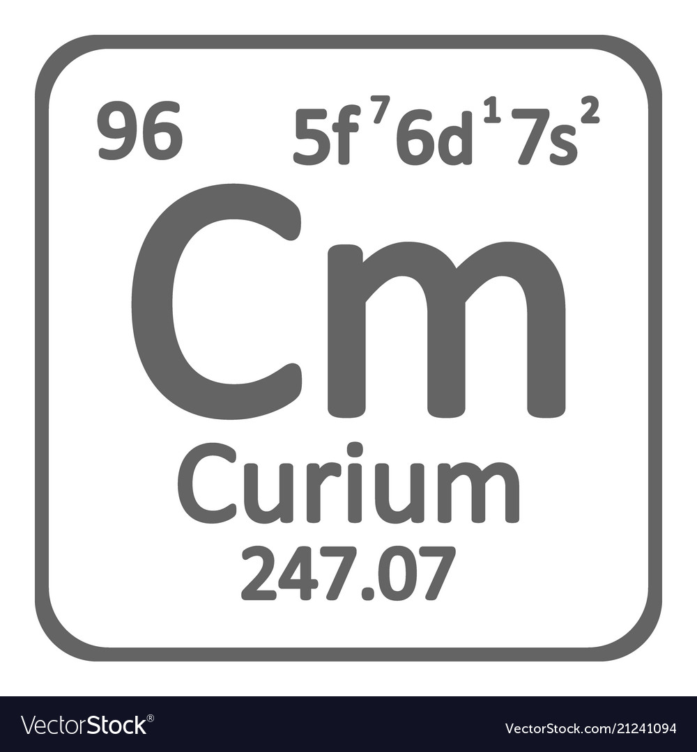 Periodic Table Element Curium Icon Royalty Free Vector Image