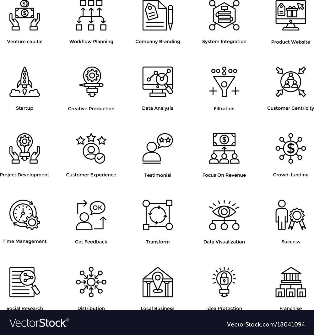 Project management line icons set 5