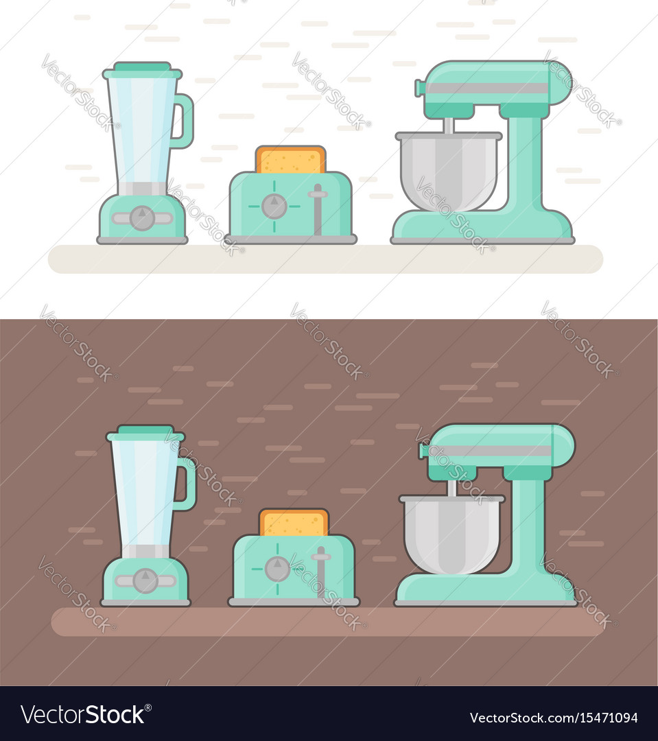 Retro kitchen devices in flat style