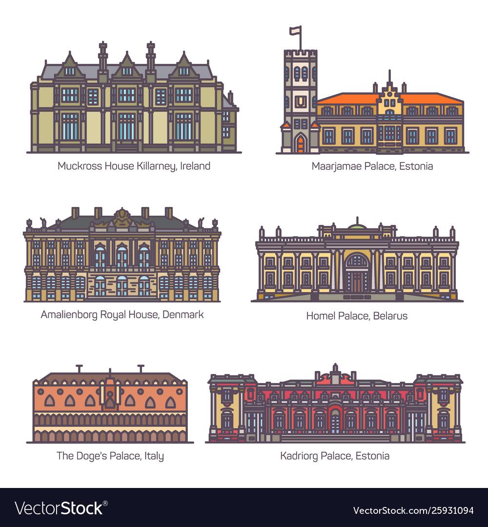 Set royal palaceparliament house europe