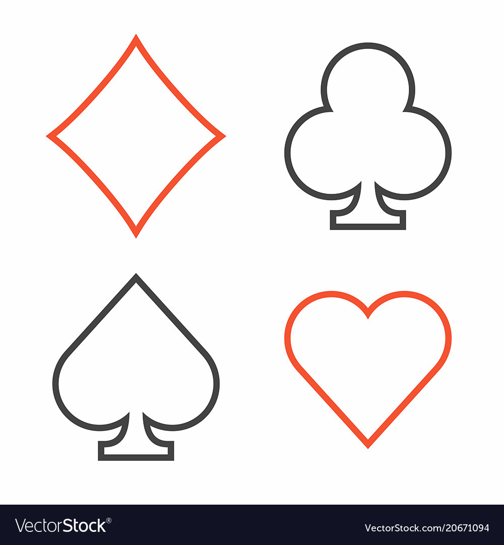 Suit of playing cards thin line style