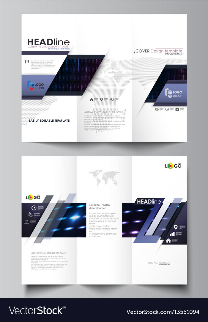 Tri-fold brochure business templates on both sides