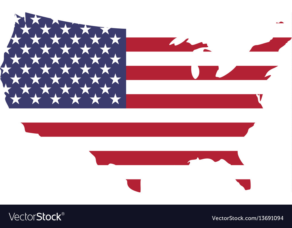 usa flag in a shape of us map silhouette united vector image rh vectorstock com vector us flag free vector us flag design