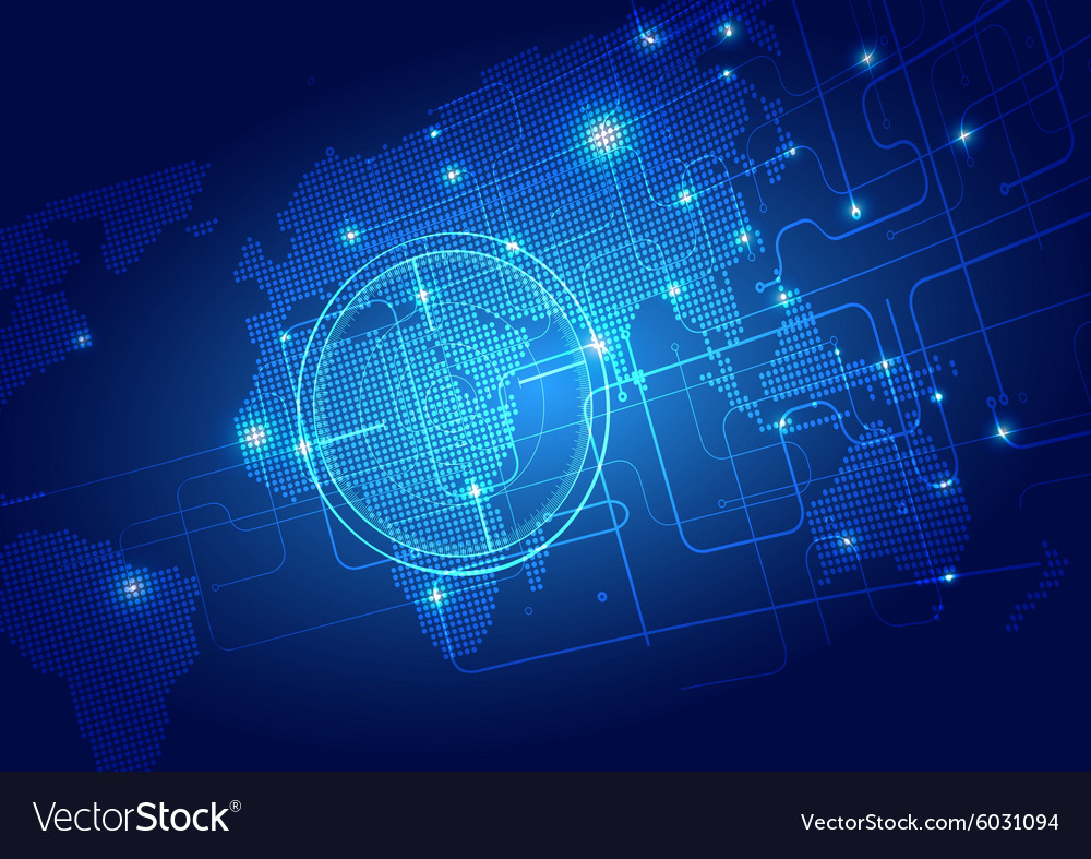 World Map with Technology Background