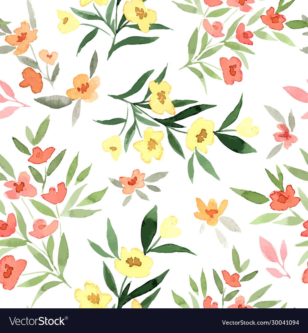 Yellow and red flowers tiny floral seamless