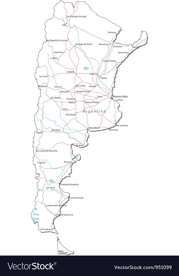 Argentina Black White Map vector image