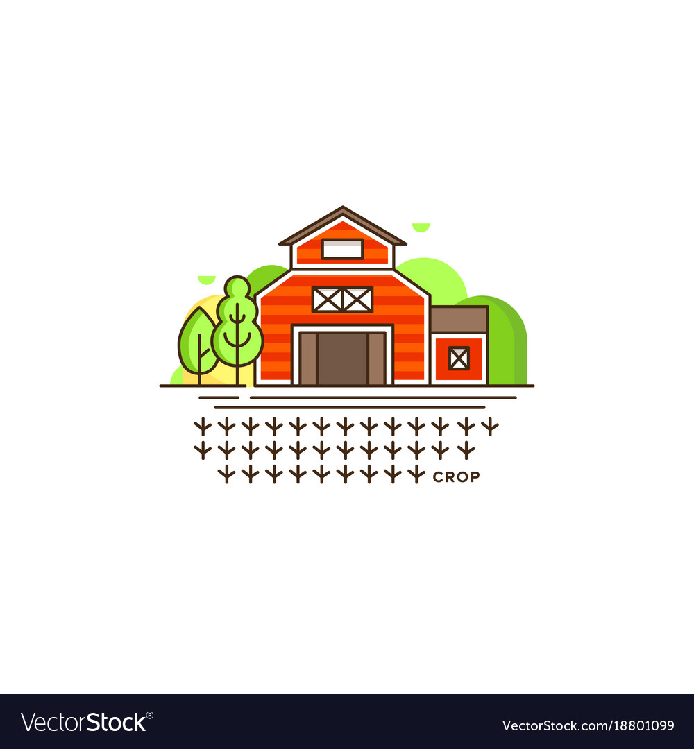Farm barn line icon with germinating field with