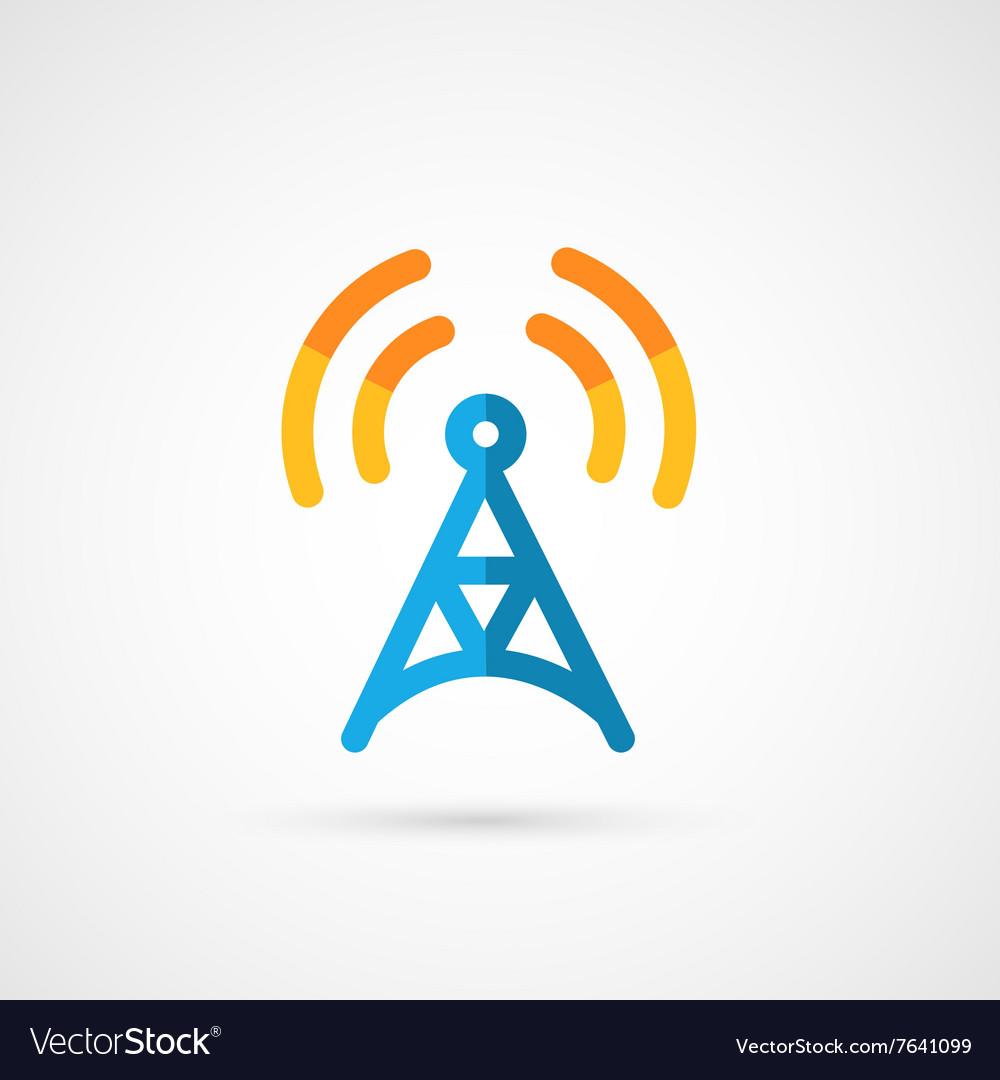 Flat icon of radio tower