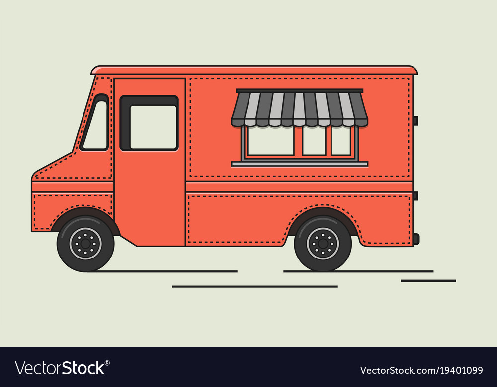 Flat retro truck