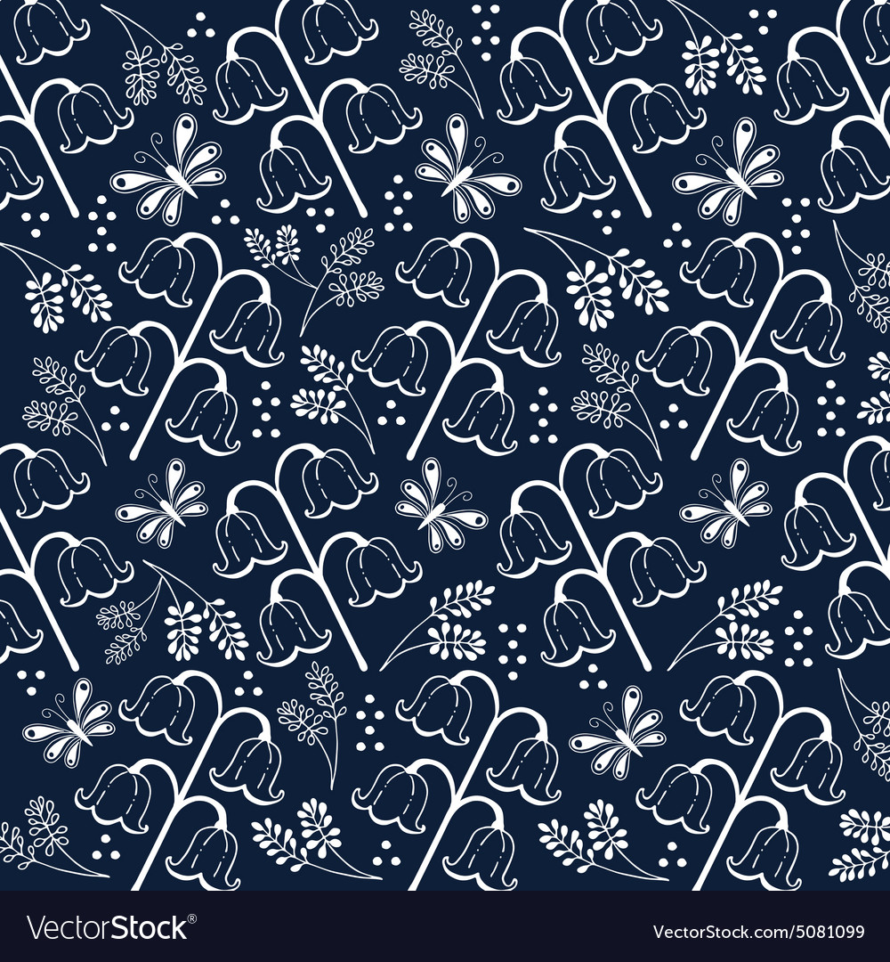 Flower pattern set 2 white and navy blue