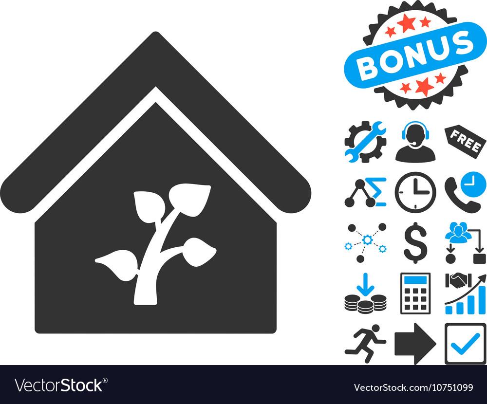 Greenhouse Building Flat Icon with Bonus