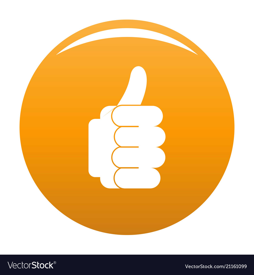 hand approval icon orange royalty free vector image