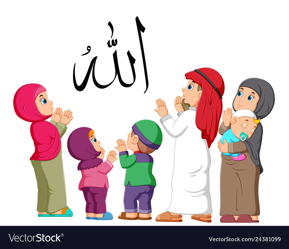 Happy arab family couple with children and pray