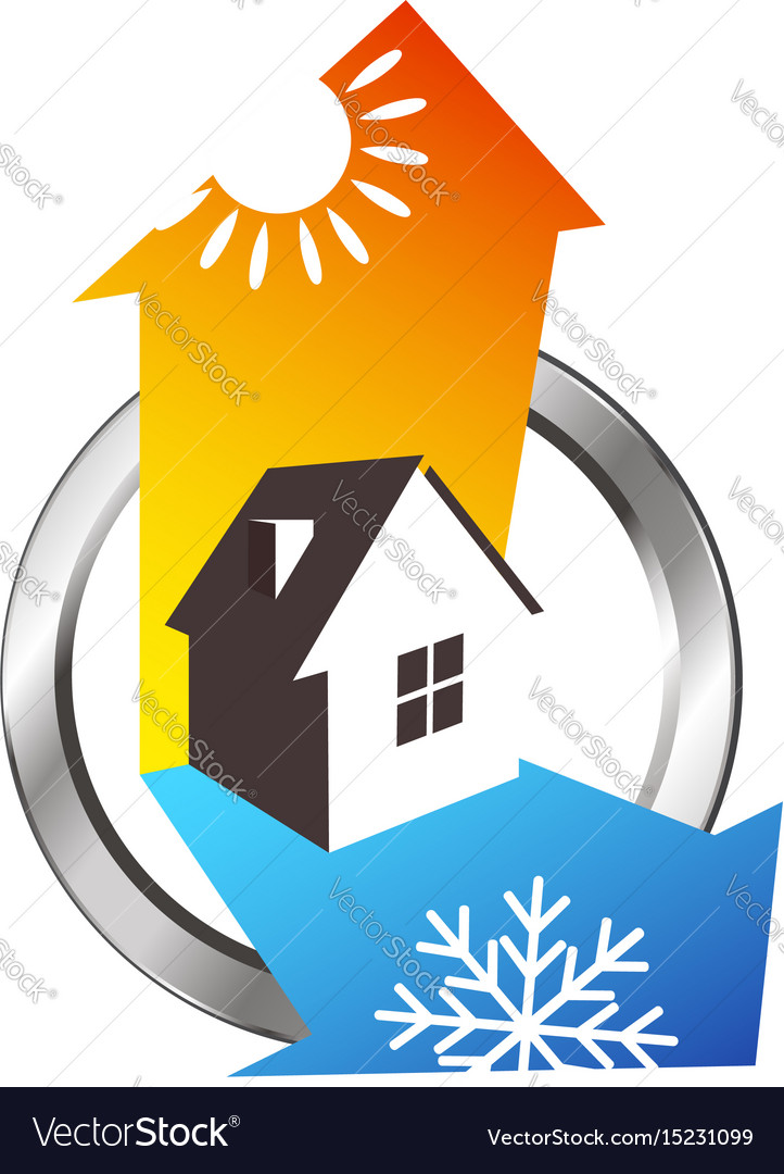 Heating and cooling house design vector image
