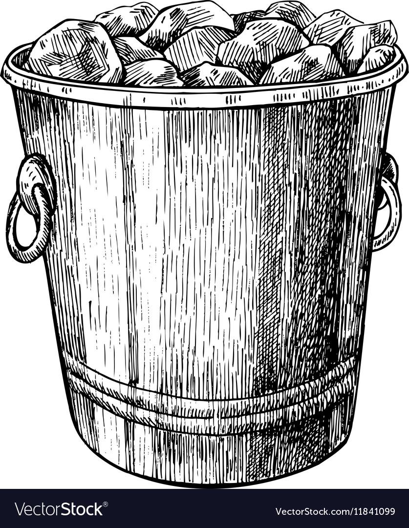 Ice bucket Hand drawn isolated