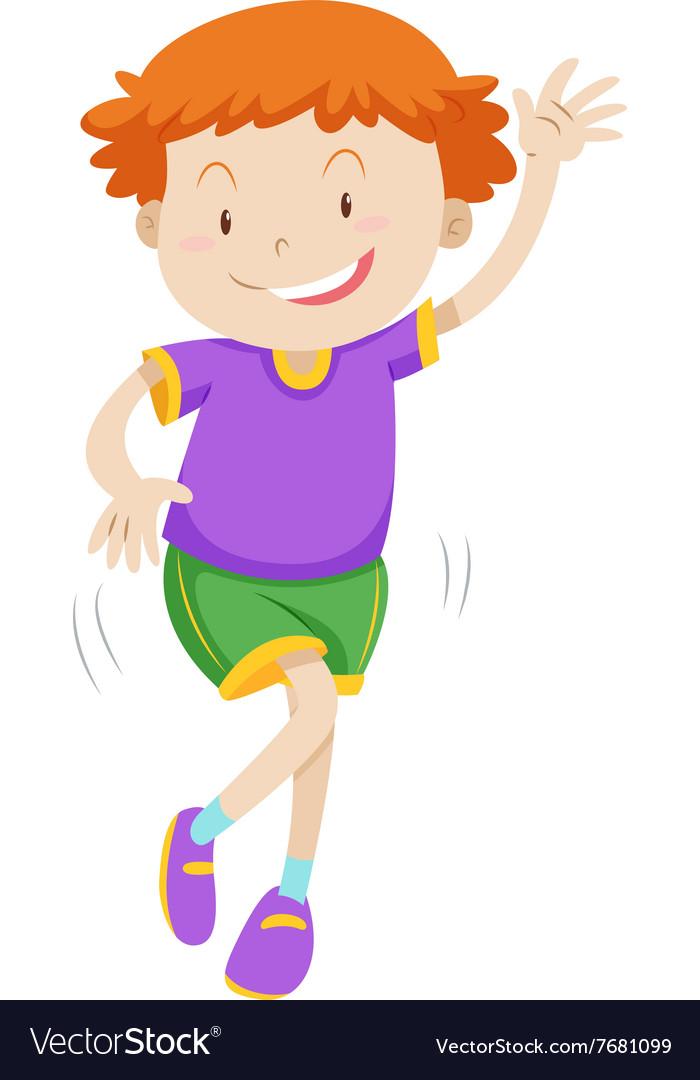 Little boy dancing alone vector image