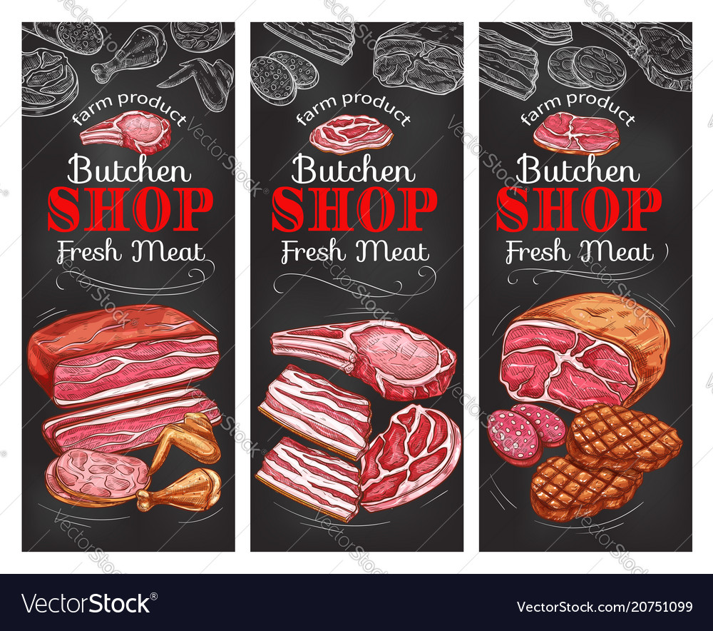 Meat and sausage chalkboard banner of buncher shop vector image