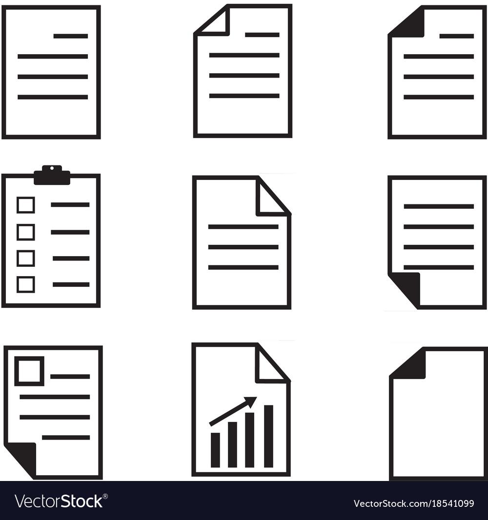 Paper icon on white background set paper icon