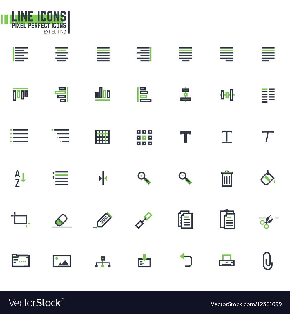Pixel line text editing alignment