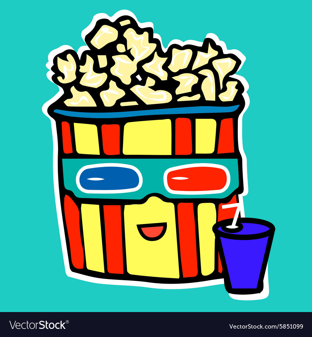 Popcorn drinks cola while watching a movie in a vector image
