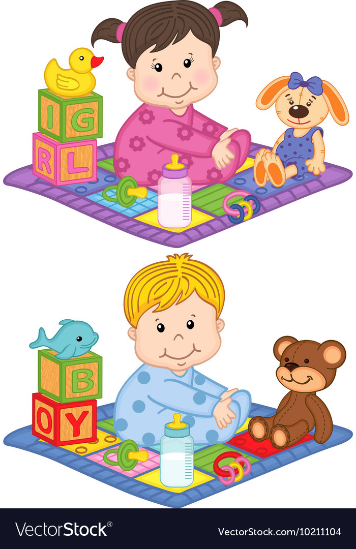 Baby boy and girl sit on carpet with toys