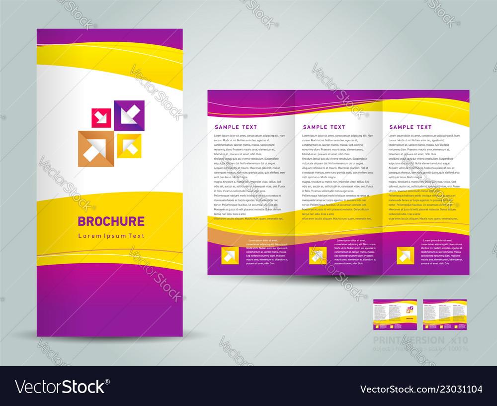 Brochure tri-fold layout design template yellow