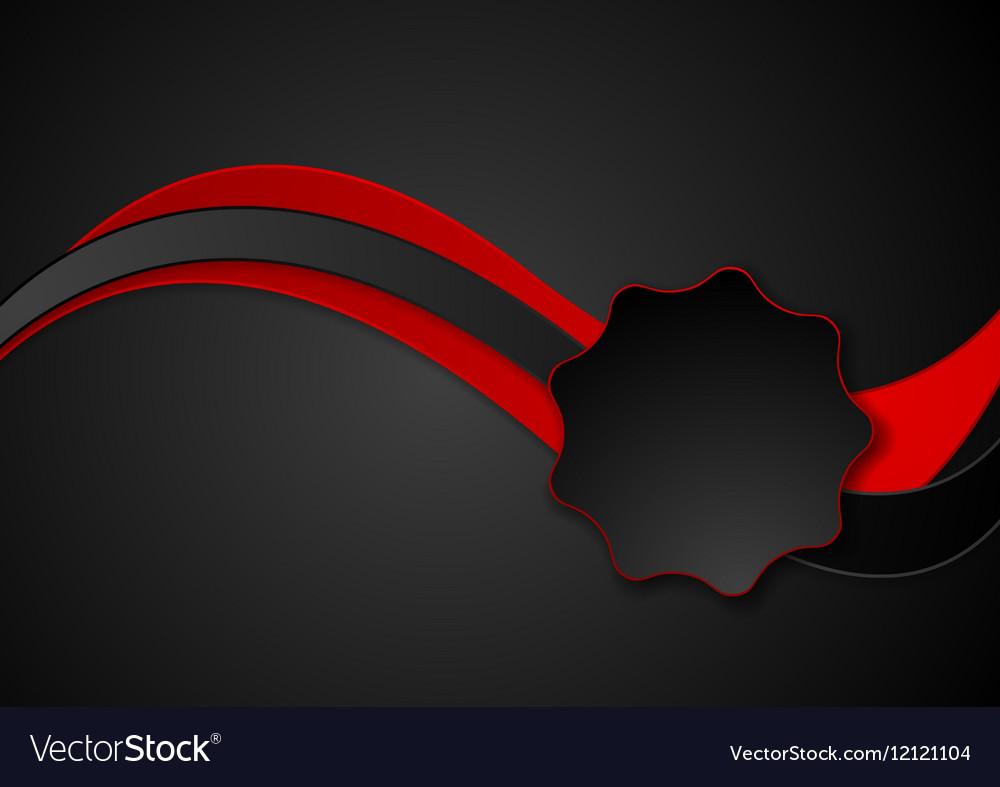 Dark abstract red black wavy corporate design vector image