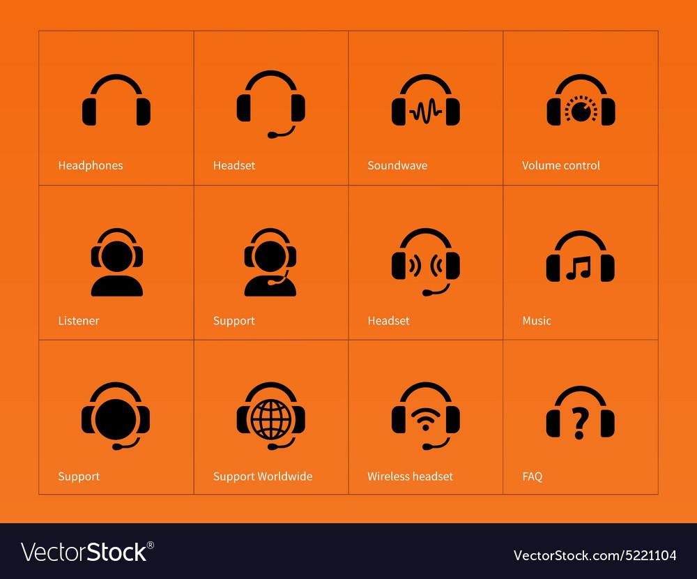 Earphones icons on orange background