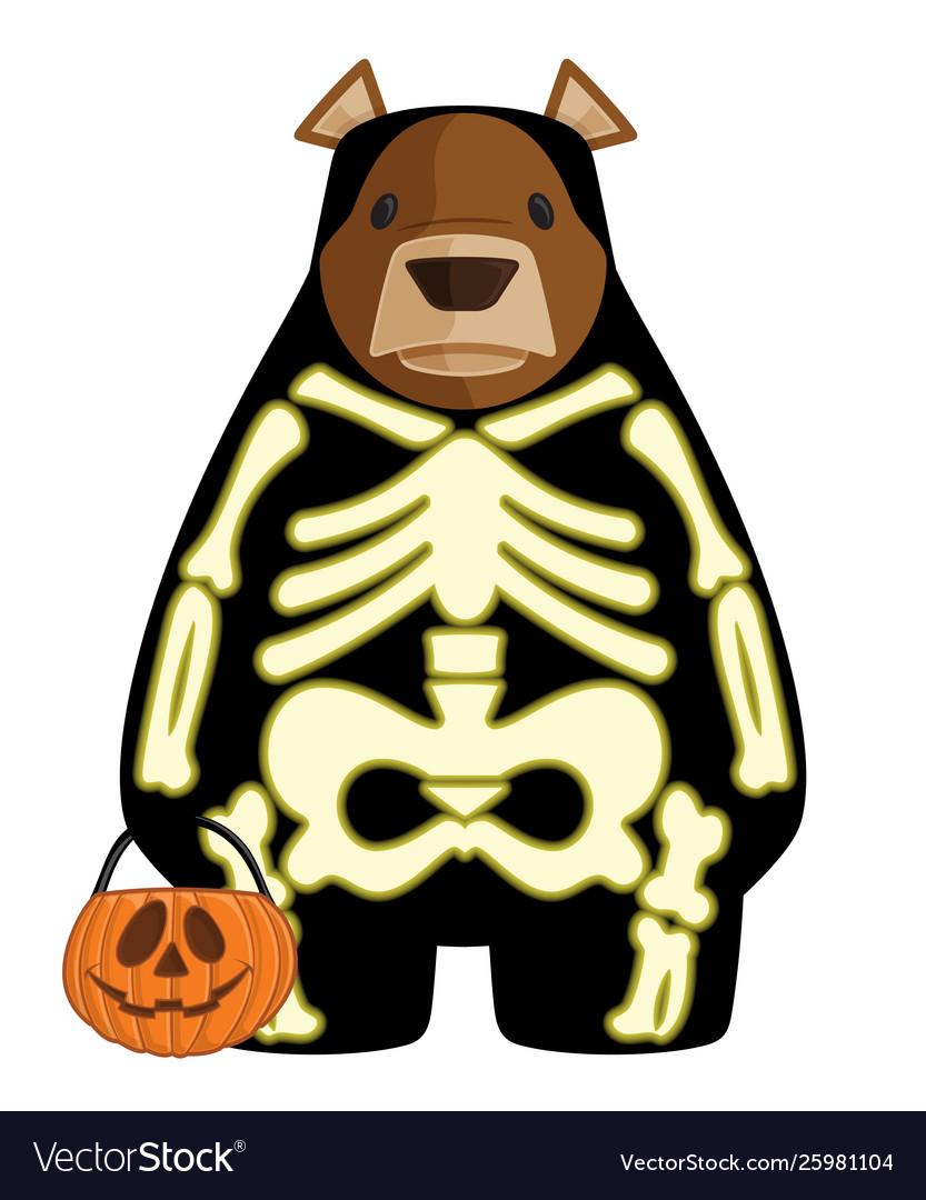 Halloween cartoon bear in glow
