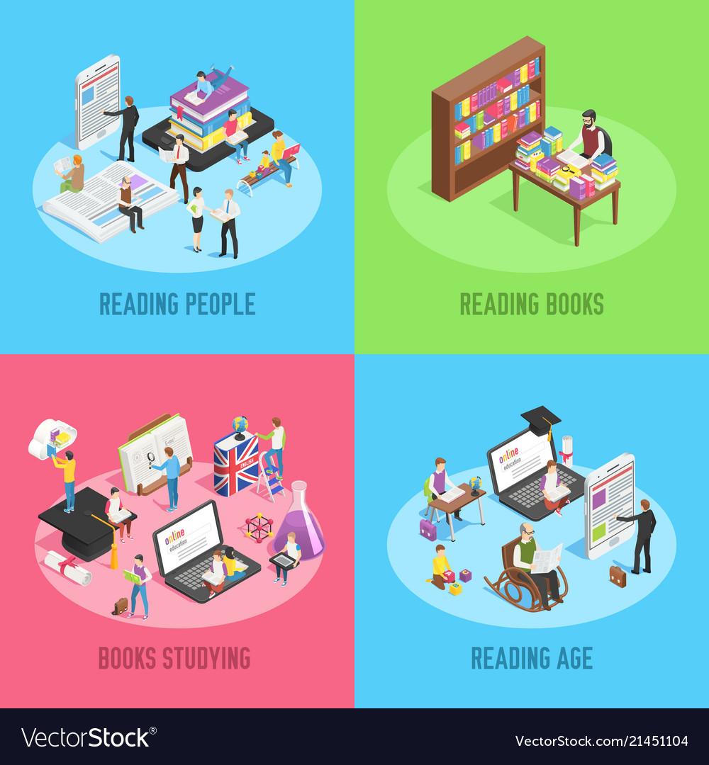 Isometric books reading educated people school
