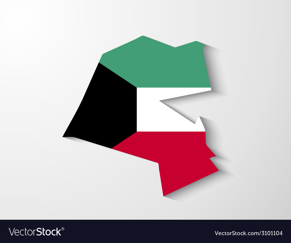 Kuwait country map with shadow effect vector