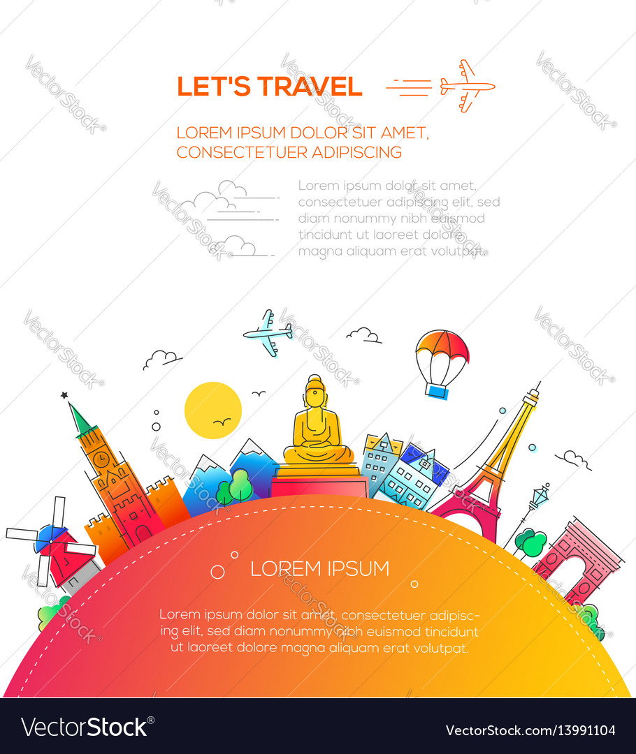 Lets travel - flat design travel composition